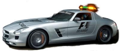 Présentation de la <b>Mercedes-Benz SLS AMG</b> qui a servi de safety car en Formule 1 en 2010.
